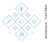 set of 5 sewing outline icons... | Shutterstock .eps vector #716373841