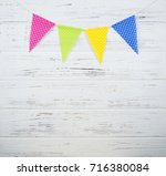 garland of yellow  pink  green... | Shutterstock . vector #716380084