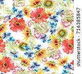 floral seamless pattern.... | Shutterstock . vector #716385847