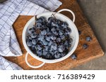 Bunches Of Concord Grapes In A...