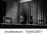 old dinner room black and white | Shutterstock . vector #716412877