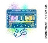 audio cassette. retro music... | Shutterstock .eps vector #716425435