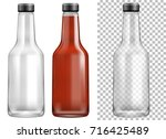 glass sauce ketchup bottles...   Shutterstock .eps vector #716425489