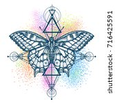 magic butterfly color tattoo ... | Shutterstock .eps vector #716425591