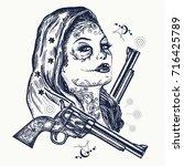 wild west woman tattoo. santa...   Shutterstock .eps vector #716425789