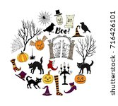 halloween. background with ... | Shutterstock .eps vector #716426101