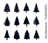pine tree silhouette vector set | Shutterstock .eps vector #716434051