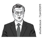 moon jae in the president of... | Shutterstock .eps vector #716435095