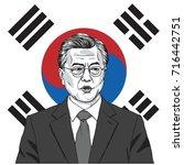 moon jae in the president of...   Shutterstock .eps vector #716442751