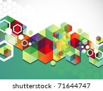 colorful hexagon background.