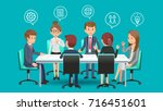 business meeting to planing for ... | Shutterstock .eps vector #716451601