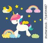 cute unicorn vector... | Shutterstock .eps vector #716454487