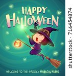happy halloween. halloween... | Shutterstock .eps vector #716454874