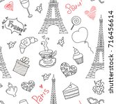 paris doodle seamless pattern | Shutterstock .eps vector #716456614