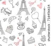 paris doodle seamless pattern | Shutterstock .eps vector #716456614