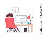 illustration with funny clerk.... | Shutterstock .eps vector #716459935