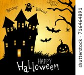 halloween card. illustration... | Shutterstock . vector #716464891