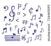 music notes doodle  vector hand ... | Shutterstock .eps vector #716465095