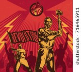 vintage propaganda poster and... | Shutterstock .eps vector #716465911