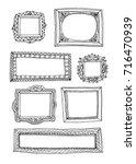hand drawn doodle frames set.... | Shutterstock .eps vector #716470939