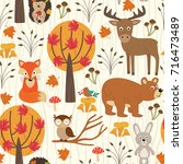 seamless pattern with autumn... | Shutterstock .eps vector #716473489