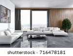 modern bright interiors. 3d... | Shutterstock . vector #716478181