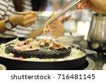grill pork in korea style.   Shutterstock . vector #716481145