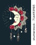 hand drawn moon mandala...   Shutterstock .eps vector #716493985