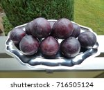 blue prunus domestica on a... | Shutterstock . vector #716505124