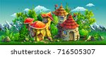 fairy tales village with small... | Shutterstock .eps vector #716505307