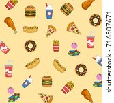 fast food pattern and... | Shutterstock .eps vector #716507671