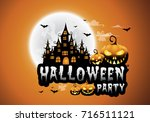 haunted house and full moon... | Shutterstock .eps vector #716511121