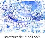 octopus and flowers....   Shutterstock . vector #716512294