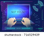 vector set of computer  hands... | Shutterstock .eps vector #716529439