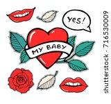my baby heart  rose leaf branch ...   Shutterstock .eps vector #716530009