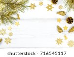 christmas frame with fir tree... | Shutterstock . vector #716545117
