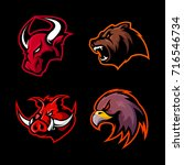 furious bull  bear  boar  eagle ... | Shutterstock .eps vector #716546734