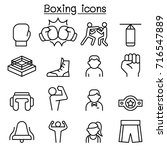 boxing icon set in thin line... | Shutterstock .eps vector #716547889