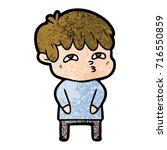 cartoon curious man   Shutterstock .eps vector #716550859