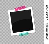 square photo frame. photo stuck ... | Shutterstock .eps vector #716550925
