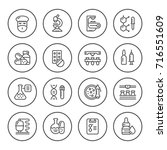 set round line icons of... | Shutterstock . vector #716551609