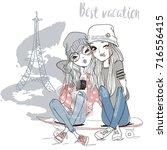 cute cartoon girls | Shutterstock .eps vector #716556415