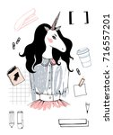 unicorn girl hipster.... | Shutterstock . vector #716557201