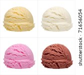 Stock photo four isolated scoops of ice cream from side 71656054