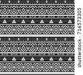 seamless monochrome folk ethno... | Shutterstock . vector #716573305