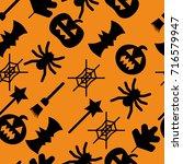 set of halloween objects ... | Shutterstock .eps vector #716579947