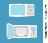microwave oven with open and... | Shutterstock .eps vector #716580295