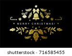 gold christmas composition made ... | Shutterstock .eps vector #716585455