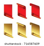 set of  red and gold curved... | Shutterstock .eps vector #716587609