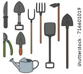 vector set of gardening tool | Shutterstock .eps vector #716601019